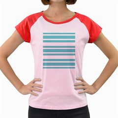 Teal Adn White Stripe Designs Women s Cap Sleeve T Shirt by timelessartoncanvas