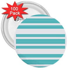 Teal Adn White Stripe Designs 3  Buttons (100 Pack)  by timelessartoncanvas