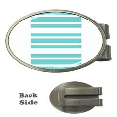 Teal Adn White Stripe Designs Money Clips (oval)  by timelessartoncanvas