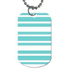 Teal Adn White Stripe Designs Dog Tag (two Sides) by timelessartoncanvas