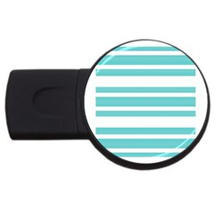 Teal Adn White Stripe Designs Usb Flash Drive Round (4 Gb)  by timelessartoncanvas