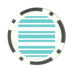 Teal Adn White Stripe Designs Poker Chip Card Guards by timelessartoncanvas