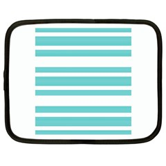 Teal Adn White Stripe Designs Netbook Case (large) by timelessartoncanvas
