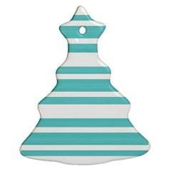 Teal Adn White Stripe Designs Christmas Tree Ornament (2 Sides) by timelessartoncanvas