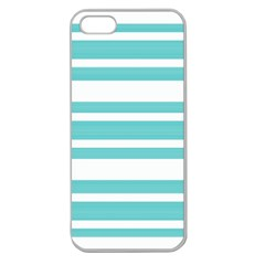 Teal Adn White Stripe Designs Apple Seamless Iphone 5 Case (clear) by timelessartoncanvas