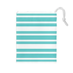 Teal Adn White Stripe Designs Drawstring Pouches (large)  by timelessartoncanvas
