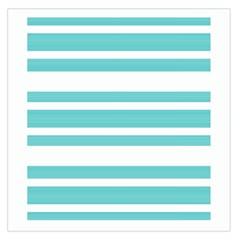 Teal Adn White Stripe Designs Large Satin Scarf (square) by timelessartoncanvas