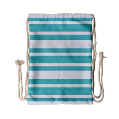 Teal Adn White Stripe Designs Drawstring Bag (small) by timelessartoncanvas