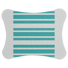 Teal Adn White Stripe Designs Jigsaw Puzzle Photo Stand (bow) by timelessartoncanvas