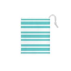 Teal Adn White Stripe Designs Drawstring Pouches (xs)  by timelessartoncanvas