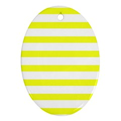 Bright Yellow And White Stripes Ornament (oval)  by timelessartoncanvas
