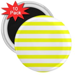 Bright Yellow And White Stripes 3  Magnets (10 Pack)  by timelessartoncanvas