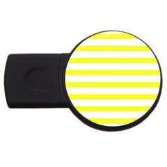 Bright Yellow And White Stripes Usb Flash Drive Round (2 Gb)  by timelessartoncanvas