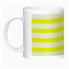 Bright Yellow And White Stripes Night Luminous Mugs by timelessartoncanvas