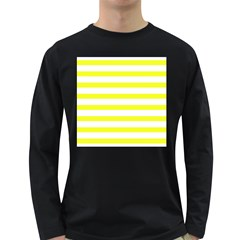 Bright Yellow And White Stripes Long Sleeve Dark T Shirts by timelessartoncanvas