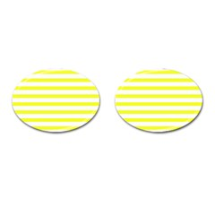 Bright Yellow And White Stripes Cufflinks (oval) by timelessartoncanvas