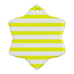 Bright Yellow And White Stripes Ornament (snowflake)  by timelessartoncanvas