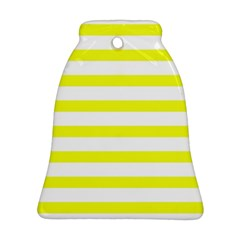 Bright Yellow And White Stripes Ornament (bell)  by timelessartoncanvas