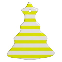 Bright Yellow And White Stripes Christmas Tree Ornament (2 Sides) by timelessartoncanvas