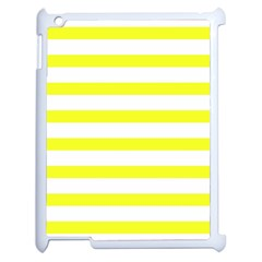 Bright Yellow And White Stripes Apple Ipad 2 Case (white) by timelessartoncanvas