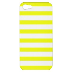 Bright Yellow And White Stripes Apple Iphone 5 Hardshell Case by timelessartoncanvas