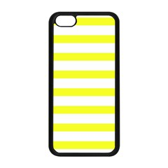 Bright Yellow And White Stripes Apple Iphone 5c Seamless Case (black) by timelessartoncanvas