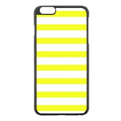Bright Yellow And White Stripes Apple Iphone 6 Plus/6s Plus Black Enamel Case by timelessartoncanvas