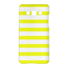 Bright Yellow And White Stripes Samsung Galaxy A5 Hardshell Case  by timelessartoncanvas