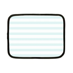Baby Blue And White Stripes Netbook Case (small)  by timelessartoncanvas