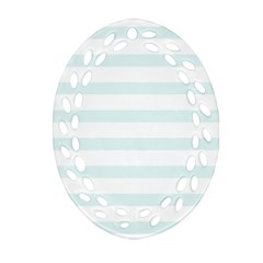 Baby Blue And White Stripes Oval Filigree Ornament (2 Side)
