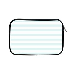 Baby Blue And White Stripes Apple Ipad Mini Zipper Cases by timelessartoncanvas