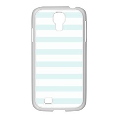 Baby Blue And White Stripes Samsung Galaxy S4 I9500/ I9505 Case (white) by timelessartoncanvas