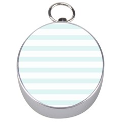 Baby Blue And White Stripes Silver Compasses