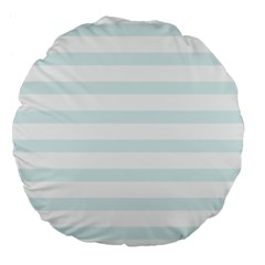 Baby Blue And White Stripes Large 18  Premium Flano Round Cushions by timelessartoncanvas