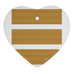 Beige/ Brown And White Stripes Design Ornament (heart)  by timelessartoncanvas