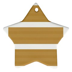 Beige/ Brown And White Stripes Design Ornament (star)  by timelessartoncanvas