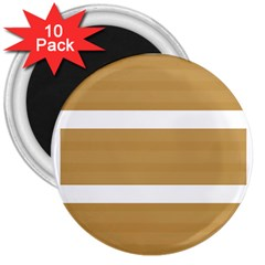 Beige/ Brown And White Stripes Design 3  Magnets (10 Pack)  by timelessartoncanvas