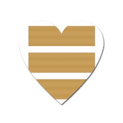 Beige/ Brown And White Stripes Design Heart Magnet by timelessartoncanvas