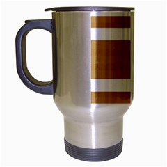 Beige/ Brown And White Stripes Design Travel Mug (silver Gray) by timelessartoncanvas