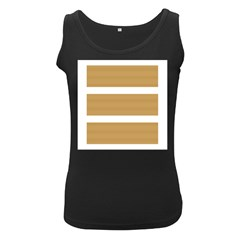 Beige/ Brown And White Stripes Design Women s Black Tank Tops by timelessartoncanvas