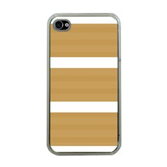 Beige/ Brown And White Stripes Design Apple Iphone 4 Case (clear) by timelessartoncanvas