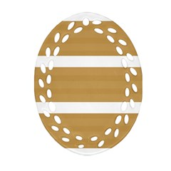 Beige/ Brown And White Stripes Design Oval Filigree Ornament (2 Side)  by timelessartoncanvas