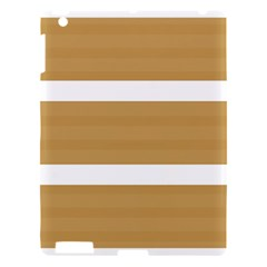 Beige/ Brown And White Stripes Design Apple Ipad 3/4 Hardshell Case by timelessartoncanvas
