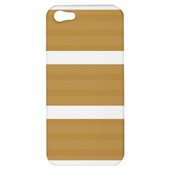 Beige/ Brown And White Stripes Design Apple Iphone 5 Hardshell Case by timelessartoncanvas
