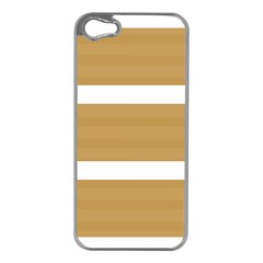 Beige/ Brown And White Stripes Design Apple Iphone 5 Case (silver) by timelessartoncanvas