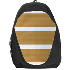 Beige/ Brown And White Stripes Design Backpack Bag by timelessartoncanvas