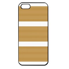 Beige/ Brown And White Stripes Design Apple Iphone 5 Seamless Case (black) by timelessartoncanvas