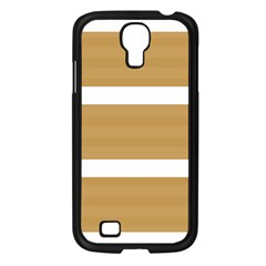 Beige/ Brown And White Stripes Design Samsung Galaxy S4 I9500/ I9505 Case (black) by timelessartoncanvas