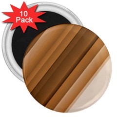 Metallic Brown/neige Stripes 3  Magnets (10 Pack)  by timelessartoncanvas