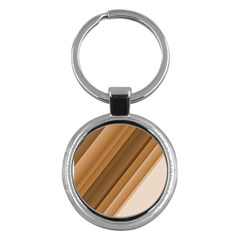 Metallic Brown/neige Stripes Key Chains (round)  by timelessartoncanvas